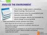 analyze the environment