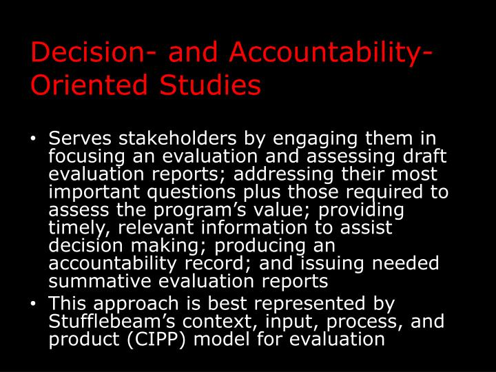 Decision- and Accountability-Oriented Studies