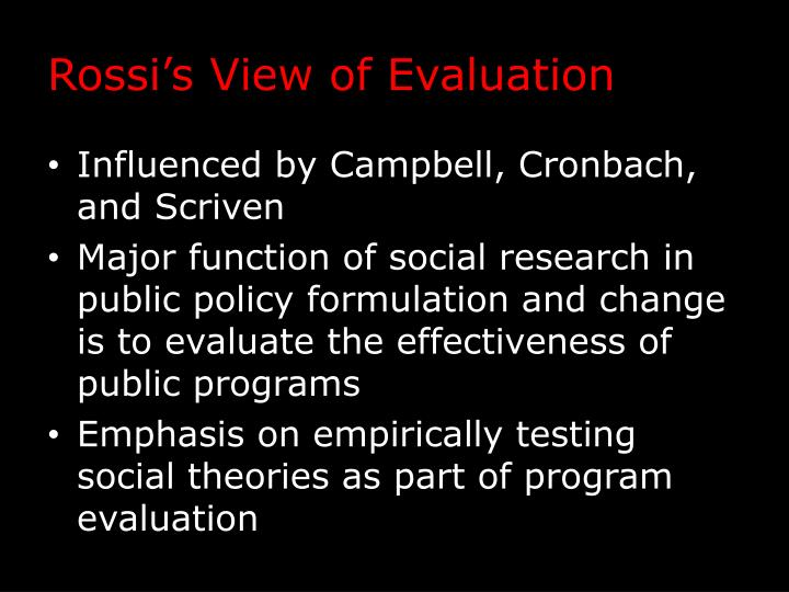 Rossi's View of Evaluation