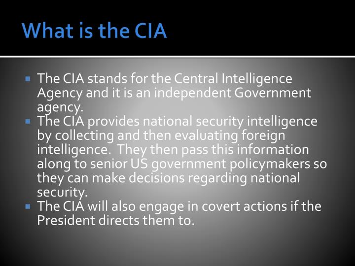 What is the CIA