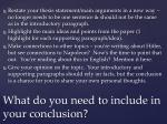 what do you need to include in your conclusion