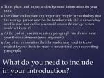 what do you need to include in your introduction