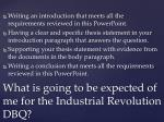 what is going to be expected of me for the industrial revolution dbq