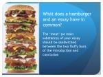 what does a hamburger and an essay have in common