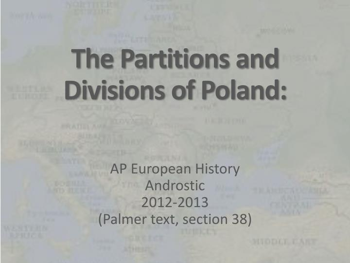 the partitions and divisions of poland n.
