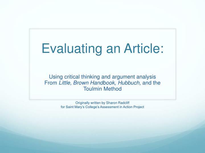evaluating an article n.