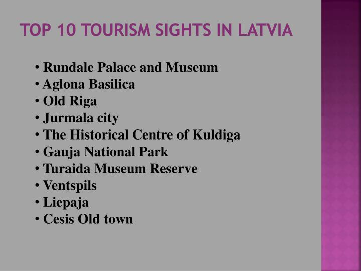 Top 10 tourism sights in latvia