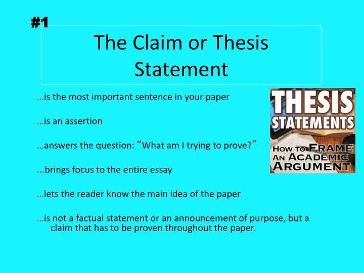 claim assertion thesis Your thesis and claims first, a reminder about thesis statements: thesis a thesis statement in an essay is a sentence that explicitly identifies the purpose of the paper or previews its.