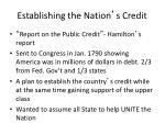 establishing the nation s credit