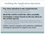 tackling the application question