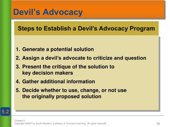Steps to Establish a Devil's Advocacy Program