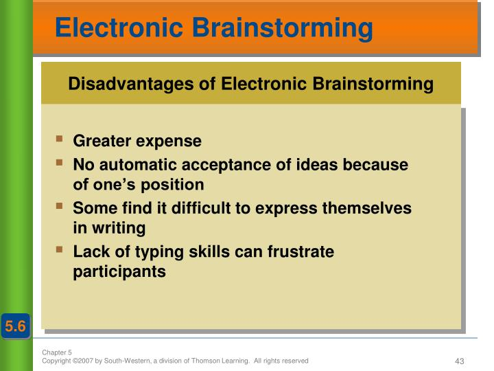 Disadvantages of Electronic Brainstorming