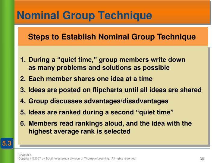 Steps to Establish Nominal Group Technique