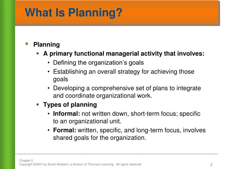 What is planning