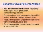 congress gives power to wilson