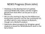 news progress from john