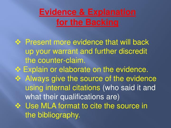 Evidence & Explanation