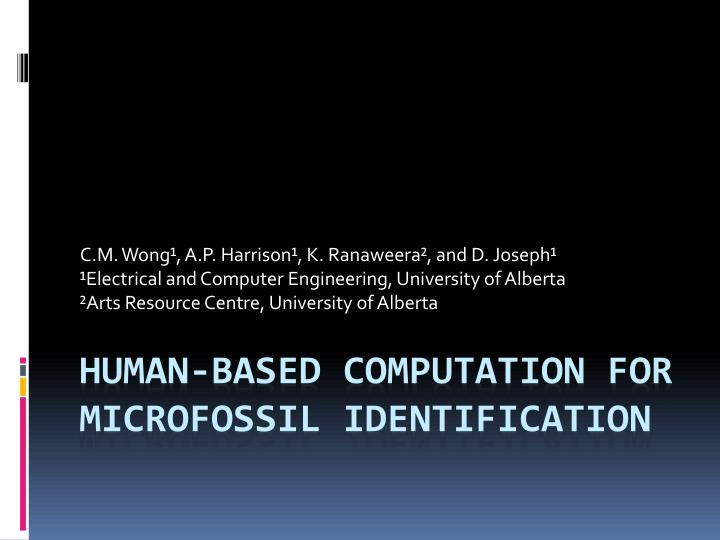 human based computation for microfossil identification n.