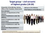 target group civil servants of highest grades 18 20