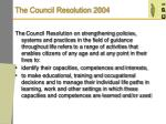 the council resolution 2004