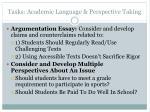tasks academic language perspective taking