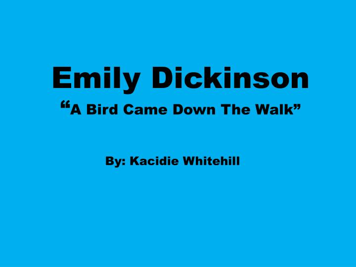 a bird came down essay Free essay: a bird came down the walk and a narrow fellow in the grass are both best known poems in the world by emily dickinson asked by jr j #629160 a year ago 3/22/2017lesson plans for a bird came down the walk analysis, a poem by emily free essay: a bird came down the.