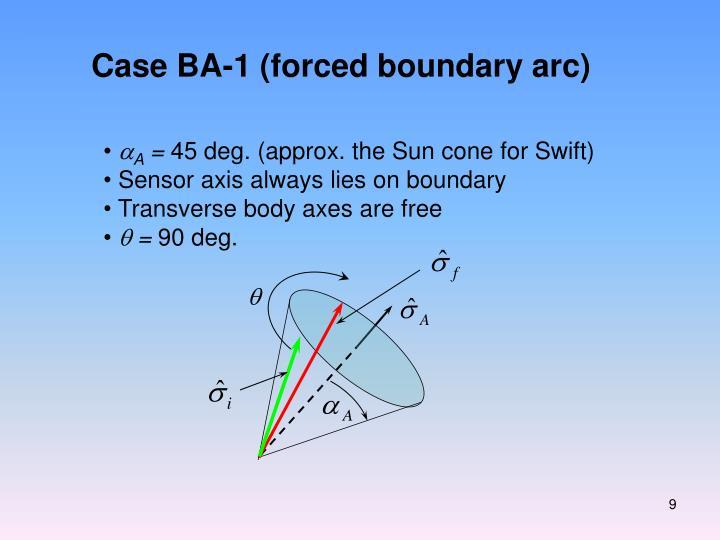 Case BA-1 (forced boundary arc)