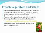 french vegetables and salads