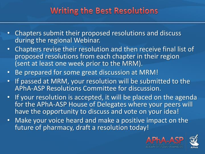Writing the Best Resolutions