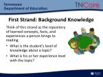 first strand background knowledge