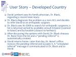 user story developed country