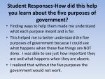 student responses how did this help you learn about the five purposes of government