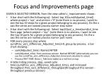 focus and improvements page