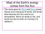 most of the earth s energy comes from the sun1