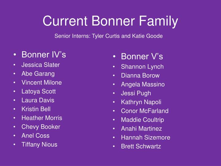 Current Bonner Family