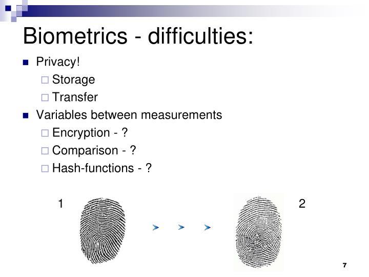 Biometrics - difficulties: