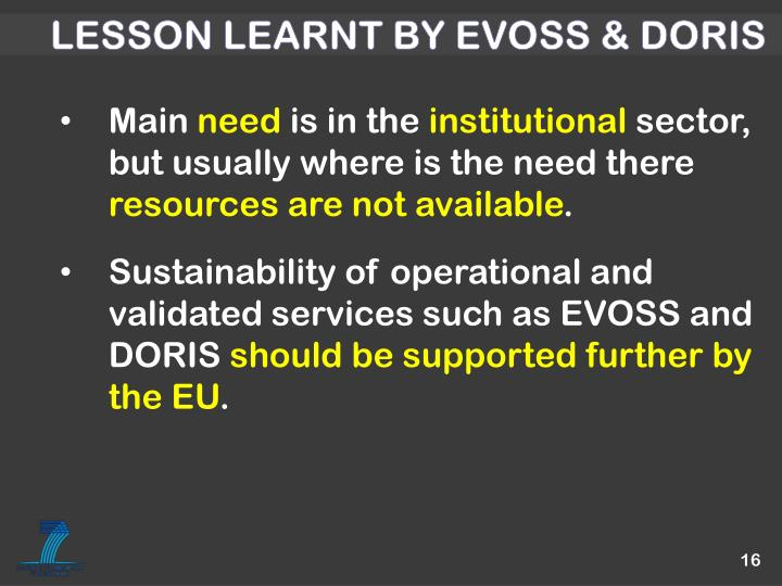 Lesson learnt by EVOSS & DORIS