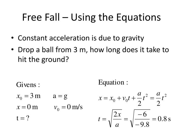 Free Fall – Using the Equations