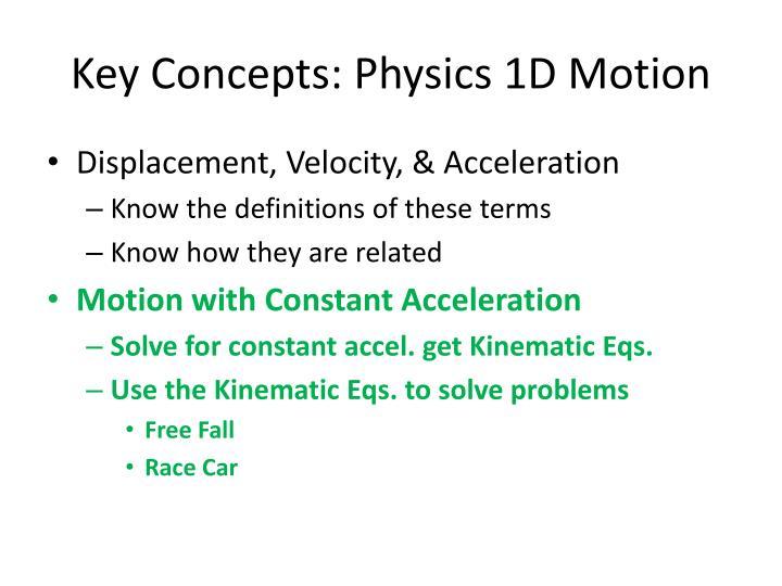 Key Concepts: Physics 1D Motion