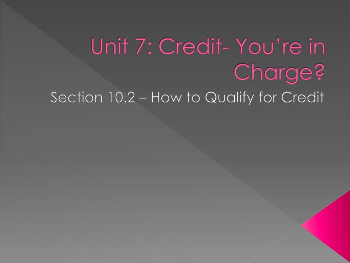 unit 7 credit you re in charge n.