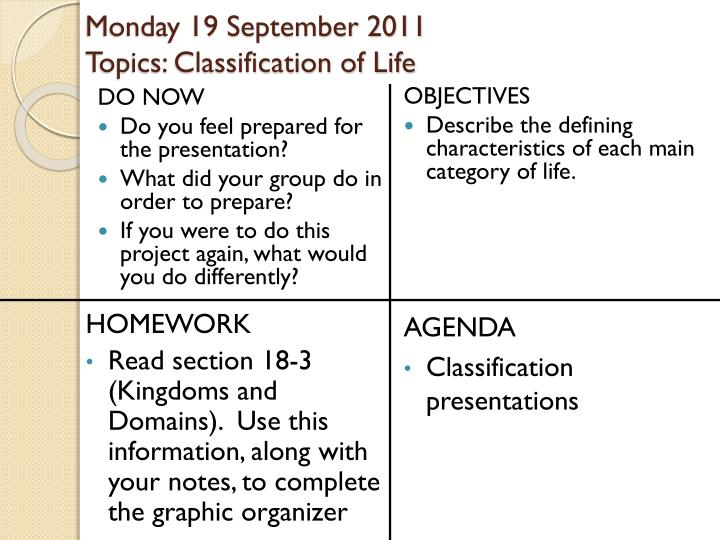 monday 19 september 2011 topics classification of life n.