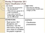 monday 19 september 2011 topics classification of life