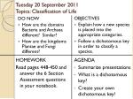 tuesday 20 september 2011 topics classification of life