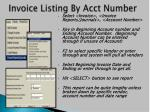 invoice listing by acct number