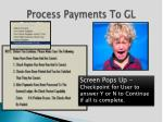 process payments to gl