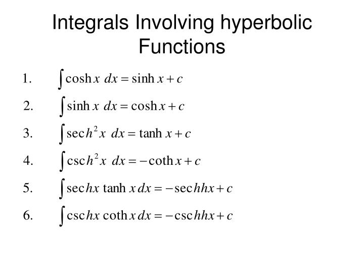 Ppt Hyperbolic Functions Powerpoint Presentation Id2255376