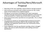 advantages of toshiba nero microsoft proposal