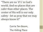 corrie ten boom the hiding place