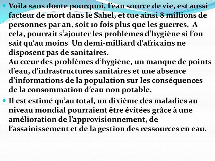 Voila sans doute pourquoi, l'eau source de vie, est aussi facteur de mort dans le Sahel, et tue ainsi 8 millions de personnes par an, soit 10 fois plus que les guerres.  A cela, pourrait s'ajouter les problèmes d'hygiène si l'on sait qu'au moins  Un demi-milliard d'africains ne disposent pas de sanitaires.