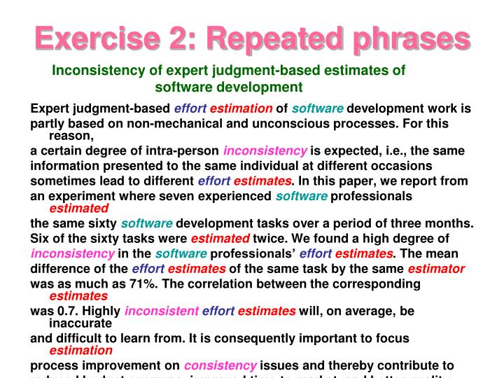Exercise 2: Repeated phrases